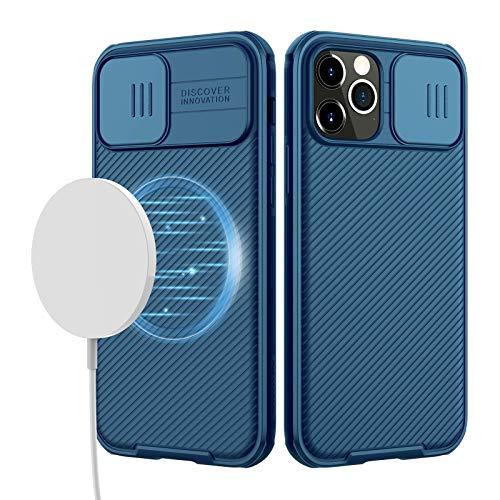 imluckies Funda Magnética para iPhone 12 Pro MAX, Fundas de Teléfono Delgada con Protector de la Cámara Deslizante, Parte Trasera de PC Dura y Carcasa de Marco de TPU Suave (Azul)
