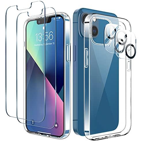 LK Cover Compatibile con iPhone 13 6.1 Pollici Custodia, 4 Pezzi - 2 Pellicola Protettiva in Vetro Temperato & 2 Pellicola Fotocamera, Silicone Morbido TPU Protezione Case-Trasparente