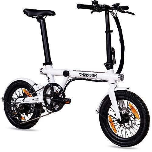 CHRISSON 16 Zoll E-Bike Klapprad ERTOS 16 weiß-glänzend - E-Faltrad mit Hinterrad Nabenmotor 250W, 36V, 30 Nm, Pedelec Faltrad mit Schutzblechen für Damen und Herren, praktisches Elektro Klapprad