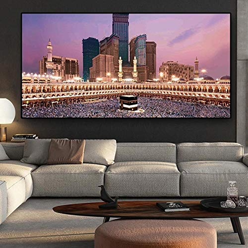 TWTQYC Islam Building Islamic Calligraphy Paintings On Canvas Arabic Posters and Prints Wall Art Picture for Living Room|60x120cm/No Frame