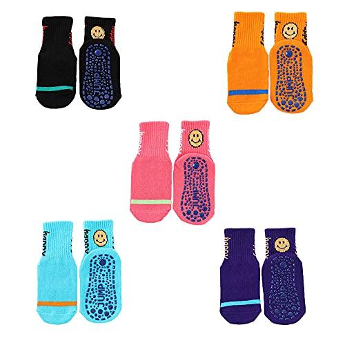 AMZOLNE Regalos 5 Pares de Calcetines Antideslizantes de algodón para niños Calcetines de trampolín de Yoga Calcetines para bebés y niños pequeños Calcetines Deportivos para Adultos-E Color_29-34EUR