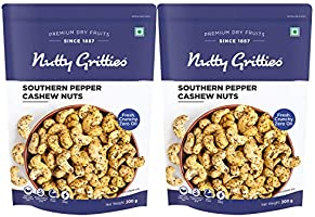 Nutty Gritties Salted Cashew Nuts, Roasted Pepper, 400g (Pack of 2, 200g Each)