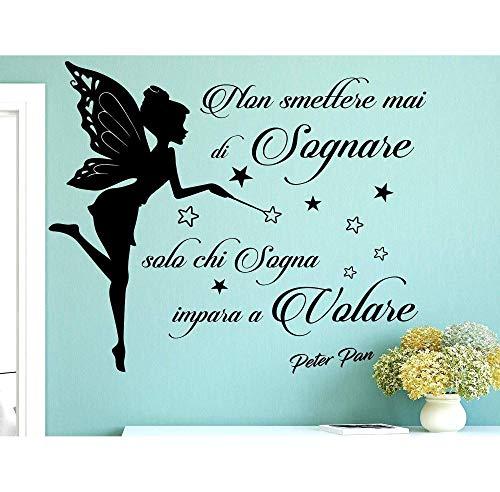 Italia Adesivo Murale Frase Citazione Wall Stickers Adesivi Murali Peter Pan NON SMETTERE MAI DI SOGNARE SOLO CHI SOGNA IMPARA A VOLARE 83 * 100cm