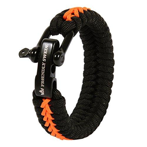 The Friendly Swede Paracord Survival Armband mit Micro-Cord - größenverstellbar (Orange Medium)