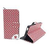 König Design Handyhülle Kompatibel mit ZTE Nubia Z9 Mini Handytasche Schutzhülle Tasche Flip Hülle mit Kreditkartenfächern - Polka Dot Weiße Punkte Rot
