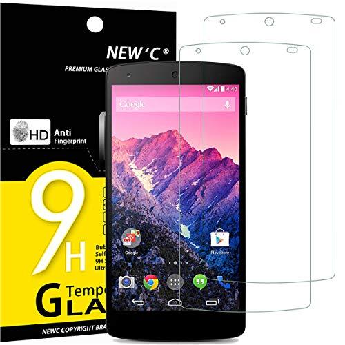 NEW'C 2 Unidades, Protector de Pantalla para LG Google Nexus 5, Antiarañazos, Antihuellas, Sin Burbujas, Dureza 9H, 0.33 mm Ultra Transparente, Vidrio Templado Ultra Resistente