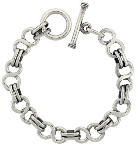 Sterling Silver 'Figure 8' Link Bracelet Toggle Clasp Handmade, 1/2 inch Wide, 9 inch