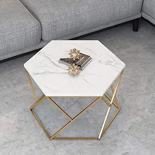LYN bijzettafel, smeedijzer-marmer-hexagon-salontafel, eenvoudige woonkamer-wachtkamer-salontafel-uitgangtafel