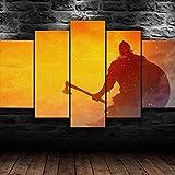 GUANGMANG 5 Piezas Lienzo - Escudo Y Hacha De Guerrero Vikingo - Modernos Impresión En Lienzo De Pared Cuadros Murales Decoración Pared Salón - Tres Tamaños