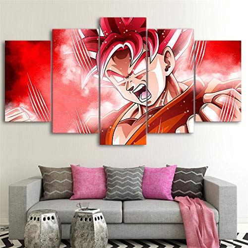 Canvas Painting HD Print Wall Art 5 Pieces Mural - Modern DIY Wall Art Picture Decoration XXL Modular Abstract Images Hand Painted Poster Living Room Bedroom Home DecorDragon Ball 25x10CM Frameless