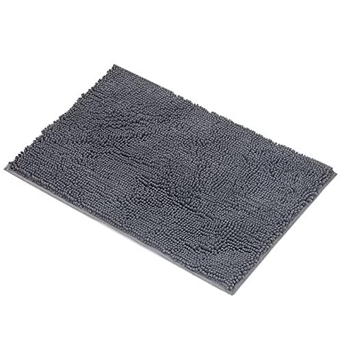 ARNTY Alfombra de Baño Antideslizante,Alfombrillas Baño Microfibra Chenille Súper Suave Absorbente Tapete de Piso para Ducha,Cocina,Baño (Gris-Chenille, 45x65cm)
