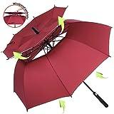 ZOMAKE Grand Parapluie Golf Automatique 158cm Double Canne, Anti UV, Parapluie Solide pour Homme Femme 8 Baleines (Marron)