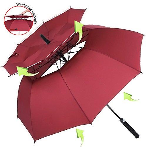 ZOMAKE 157cm Automatische Öffnen Golf Schirme Extra große Übergroß Doppelt Überdachung Belüftet Winddicht Wasserdichte Stock Regenschirme(Dunkelrot)