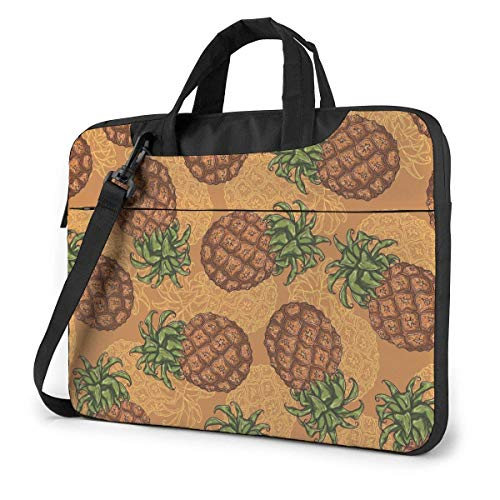 Adults Student Laptop Bag Protective Notebook Computer Protective Cover Handbag Sketch Style Drak Orange Pineapple Pattern