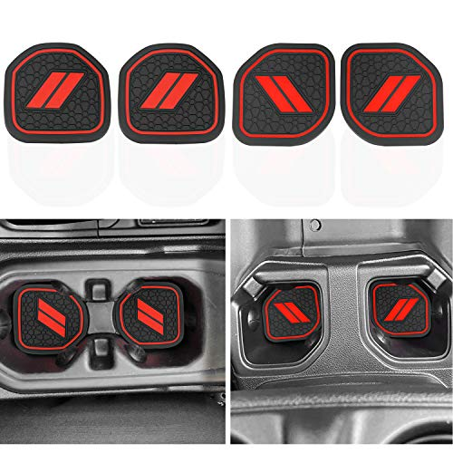 MOEBULB Cup Holder Inserts Coaster Compatible with 2018-2021 Jeep Wrangler JL JLU 2020-2021 Gladiator Accessories JT Cup Mat Pad Interior Decoration Liner Mat (4pcs/Set, Red)