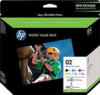 HP 2   6 Ink Cartridges with Photo Paper   Black Cyan Magenta Yellow Light Cyan Light Magenta   Works with HP Photosmart 3210 3310 C5180   Q7964AN