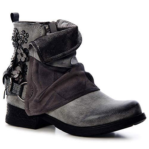topschuhe24 1476 Damen Stiefeletten Worker Biker Boots Blume, Farbe:Grau, Größe:36 EU