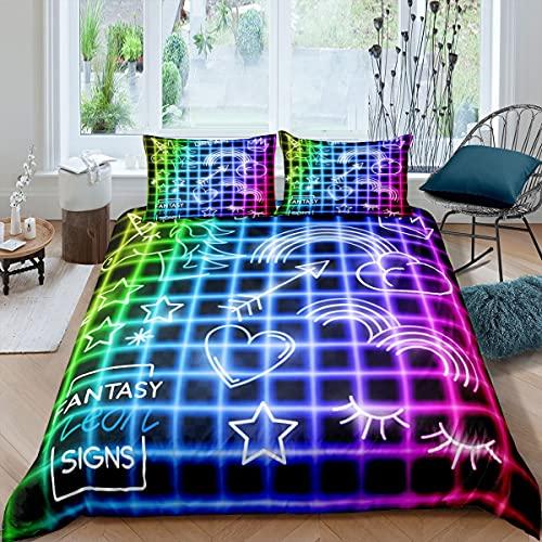 Juego de ropa de cama y lino con diseño de unicornio mágico, funda de edredón para niños y niñas de neón de ensueño caballo colorido colcha ropa de cama Super King