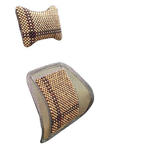 Kussen en hoofdsteun Set, verstelbare houten kralen Car Lendenkussen, Summer ademend Lumbale Pillow, Bureaustoel rugleuning, Ontlast Driving Vermoeidheid, Verfrissend en comfortabel (Color : B)
