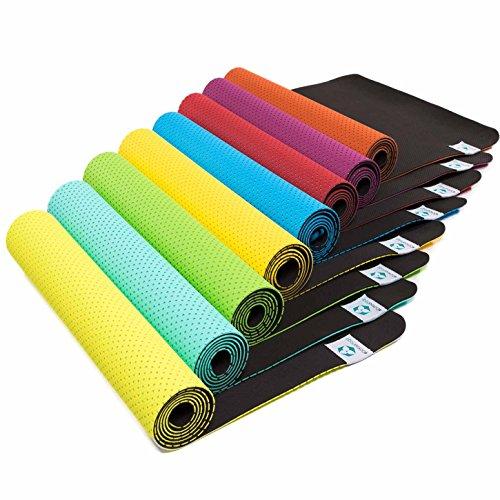 Tappetino da yoga »Suri« / Materassino ecologico e ipoallergenico in gomma TPE, morbido e antiscivolo, ideale per tutti i maestri di yoga e gli appassionati / Dimensioni: 183 x 61 x 0,5cm / giallo sole
