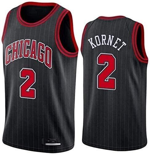 NBA Men Basketball Jersey Chicago Bulls 2# Luke Kornet Clásico sin Mangas Chaleco de Baloncesto Camiseta Transpirable Moda de los Hombres (Color : A, Size : Large)
