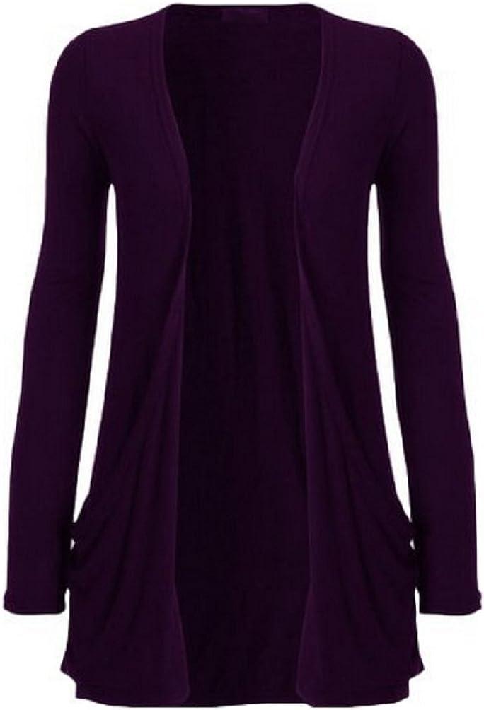 Miss High Street Womens Boyfriend Pocket Cardigan Jersey Shrug Purple