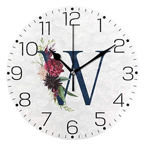 ALLdelete# Wall Clock Unique De Mariage Alphabet Floral Lettre Horloge Murale De Mode sans Cadre Horloge Décorative pour Cuisine Chambre Salon Salle De Classe Décor À La Maison-O5P