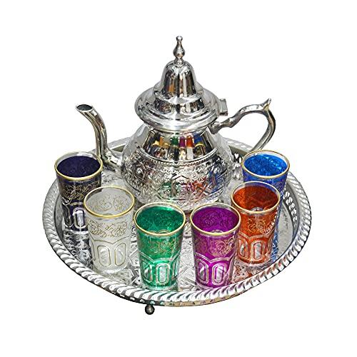 Marokkanische Tee-Set für den täglichen Gebrauch, inkl. Teekanne 660 ml Durchmesser 32 cm, 6 typische Gläser aus Glas