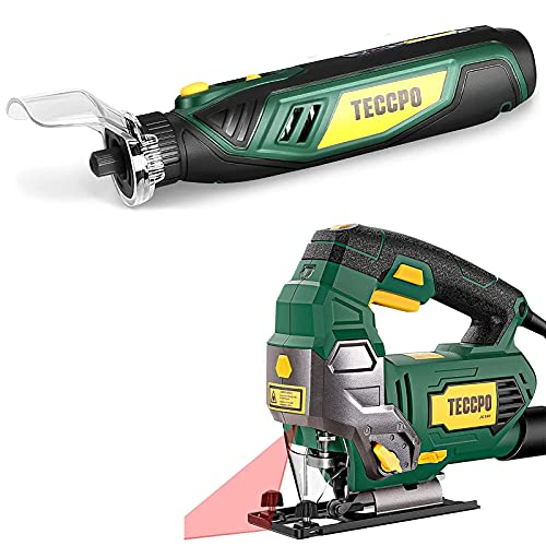 TECCPO 6.5Amp Jigsaw, 3000 SPM Jig saw with Laser, 6 Variable Speed & Cordless Rotary Tool, 4V Rotary Tool Kit with 53 Accessories, 5-Variable Speed