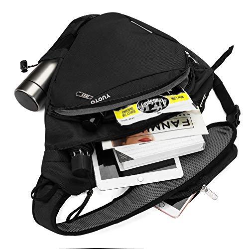 YUOTO Sling Bag, Crossbody Backpack Daypack One Strap Shoulder Bag Traveling Men Women Black