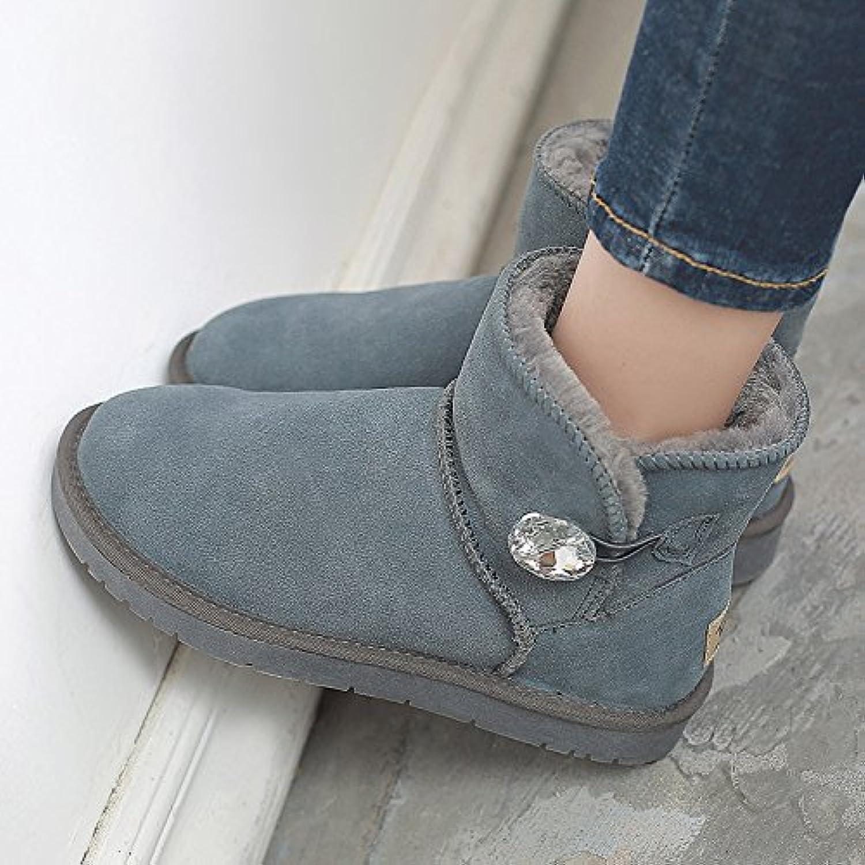 FLYRCX Herbst und Winter Schnee Stiefel mit Leder Damen samt warme Rutschfeste Schuhe  | Sale Outlet