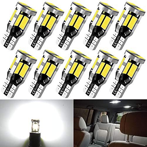 194 LED Car Bulb T10 168 2825 W5W LED Bulb, Extremely Bright 12V 10SMD 5630 Chipset LED Bulb Used for Cars Trucks Interior Dome Map Door Courtesy License Plate Lights 6500K White(10pcs/pack)