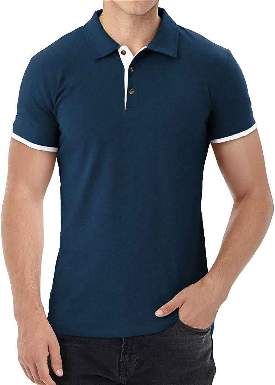 Aiyino Men's Short Sleeve Polo Shirts Sales of SALE items from new works Super special price Fashion Slim Co Fit Casual