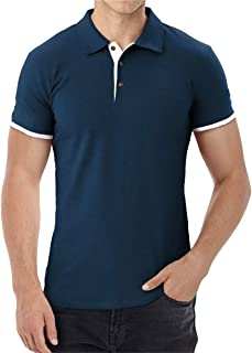 Aiyino Men's Short Sleeve Polo Shirts Casual Slim Fit Basic Designed Cotton Shirts