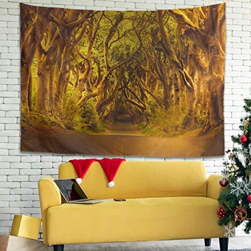 Tapiz de pared vintage, diseño de puesta de sol, bosque, calle, árboles, 200 x 150 cm, color blanco