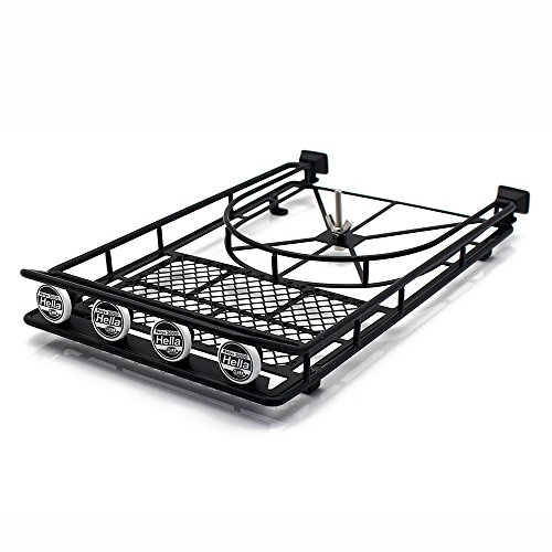 INJORA RC Portaequipajes RC Roof Rack Luggage Carrier con 4er LED Luces para 1:10 RC Rock Crawler SCX10 II 90046 90047 Cherokee SCX10 D90 Jeep Wrangler