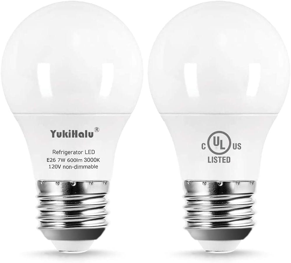 YUKIHALU, A15 Appliance Light Bulb, 60W Equivalent for Range Hood / Refrigerator Light Bulb/ Ceiling Fan Light, 600 Lumens 7W 120V 3000K Soft White E26 Base, Waterproof, Not Dimmable, 2-Pack