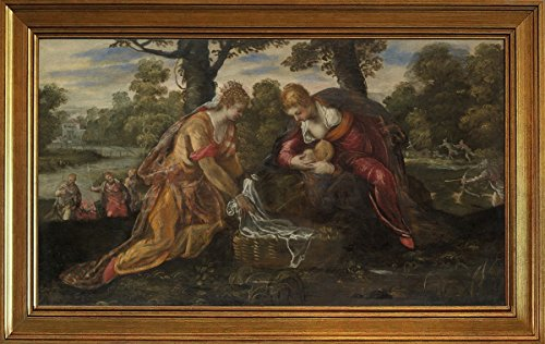 Berkin Arts Classic Framed Jacopo Tintoretto Giclee Canvas Print Paintings Poster Reproduction(The Finding of Moses)