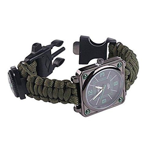 ultragood extérieur de survie multifonction montres, bracelet Kit de survie, corde, sifflet + + boussole + Fire Starter, pour la randonnée Camping Escalade Kit de premiers secours (Vert Armée)