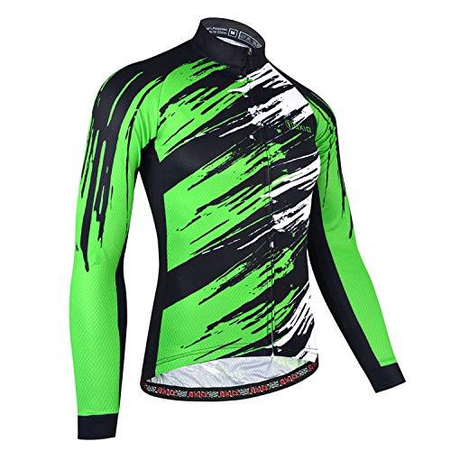 BXIO Autunno Bike Wear, Maglia da Ciclismo per Uomo, Jersey Traspirante Abbigliamento Sportivo da Ciclismo Outdoor (Green(170), 4XL)