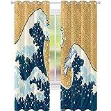 Cortinas opacas, tormenta marina en Japón, dibujo tradicional espumoso de gran onda, W226 x 108 pulgadas, cortinas opacas modernas para dormitorio, amarillo tierra azul oscuro y blanco