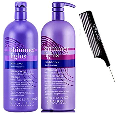 Clairol SHIMMER LIGHTS Shampoo & Conditioner DUO, BLONDE & SILVER, Purple Violet To Tone Down Brassiness, Brightens & Refreshes Highlighted (w/Comb) Remove Yellow (31.5 oz LARGE LITER DUO SET KIT)