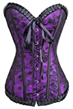 Alivila.Y Fashion Womens Sexy Vintage Gothic Dotted Corset Bustier 2043-Purple-S