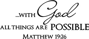 #2 with God All Things are Possible Matthew 19:26 Religious Decorations Inspirational Vinyl Wall Decals Sayings Art Lettering