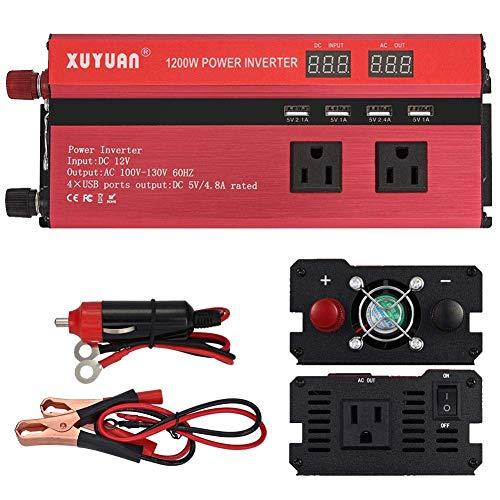 ZHCJH Wechselrichter Leistung Wechselrichter 1200W Peak Car DC 12V/24V zu AC 110V Wandler mit 4 USB-Ausgängen 5V...