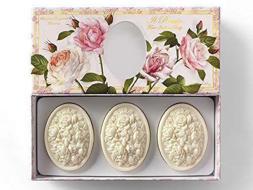 Jabón de Rosa, Roseto, pack regalo 3 pastillas de 125 g, Jabón artesanal italiano de Saponificio Artigianale Fiorentino