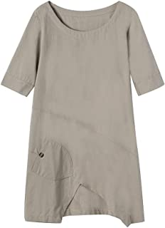 Fitfulvan Womens Round Neck Short Sleeve Cotton Linen Tops Basic Simple Blouse Summer Casual T-Shirt with Pocket