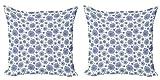 ABAKUHAUS Floral Set de 2 Fundas para Cojín, Las yemas de Flor del patrón de achicoria, con Estampado en Ambos Lados con Cremallera, 50 cm x 50 cm, Lavanda Azul Blanco
