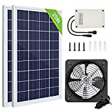 Pumplus 50W Greenhouse Solar Fan Kit, 2Pcs 25W Solar Panel & 12V/38Wh Battery, Solar Powered Fan for Attic/Shed/Chicken Coop
