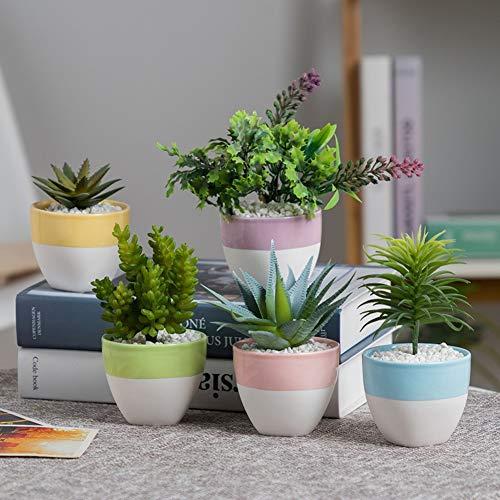 Yiwa 5 stuks/set van 5 kleuren keramiek bloempot vetplant voor tafeldecoratie kantoor tuin thuis